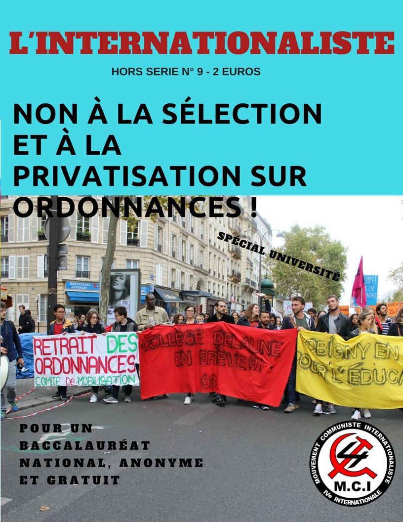 L'Internationaliste hors-série 9 - Non à la sélection et à la privatisation sur ordonnance!