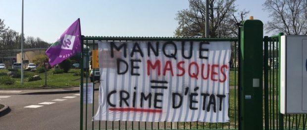 Banderole devant le Centre Hospitalier du Rouvray pour réclamer des masques pour se protéger du coronavirus