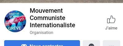 Le Facebook du Mouvement Communiste Internationaliste