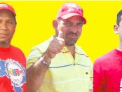 les dirigeants ouvriers Richard Gallardo, Luis Hernández et Carlos Requena