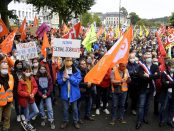 Manifestation en soutien aux salariés de Nokia Lannion, ce samedi 4 juillet 2020 dans le centre ville de Lannion en Bretagne